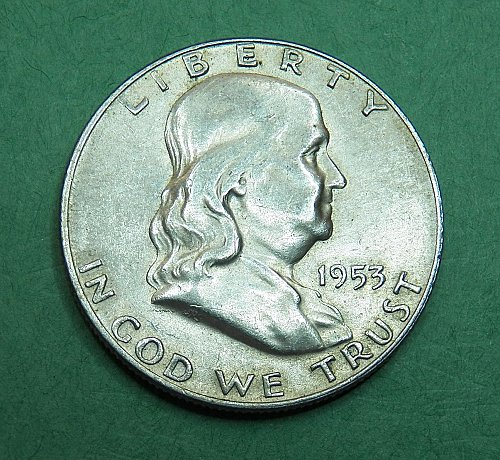 1953 D Franklin Half Dollar Almost Uncirculated Coin  f59