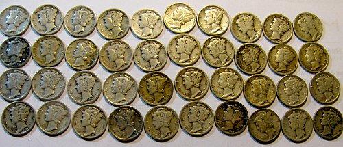 40 early Mercury Dimes 1920's & 1930's--- $1.28 EA.!!----9 S's ; 6 D's    B-18