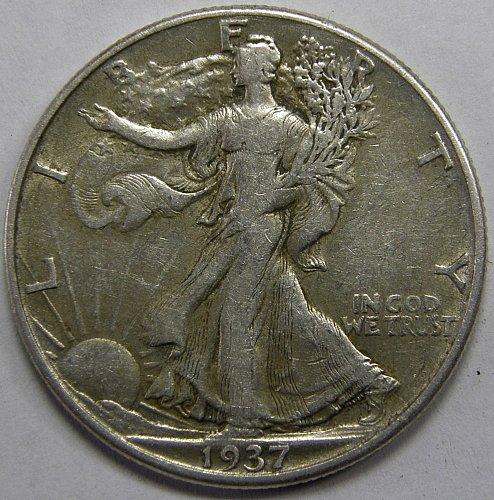 1937 D Walking Liberty Half Dollar #1