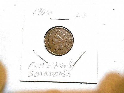 1906  Indian Head Penny  AU Brown