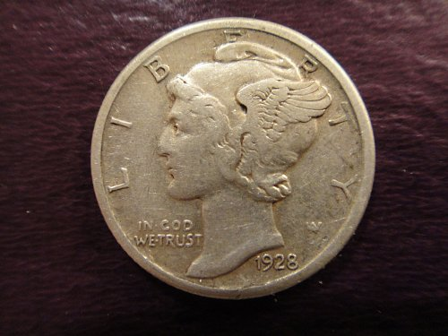 1928-S Large S Mercury Dime Very Fine-20 SCARCE Variety!