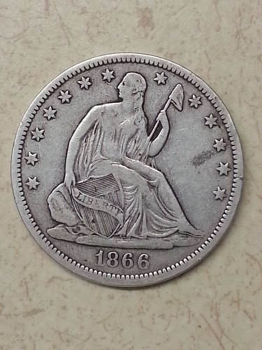 1866-S NO MOTTO Seated Liberty Half