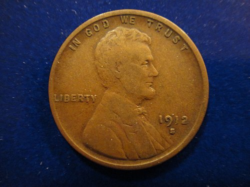 1912-S Lincoln Cent Very Fine-20 Nice Chocolate Brown & Nearly Mark Free!