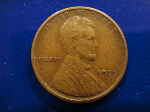1920-S Lincoln Cent Very Fine-30 Nice Strong Strike With Esp Sharp Left Stalk!