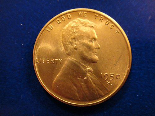 1950-S Lincoln Cent MS-65 (GEM) RED Hard to Find This Nice!