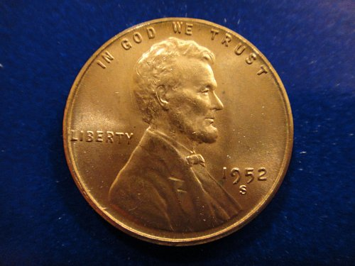 1952-S Lincoln Cent MS-65 (GEM) RED Nice Luster With A Few Minor Teadrop Spots .