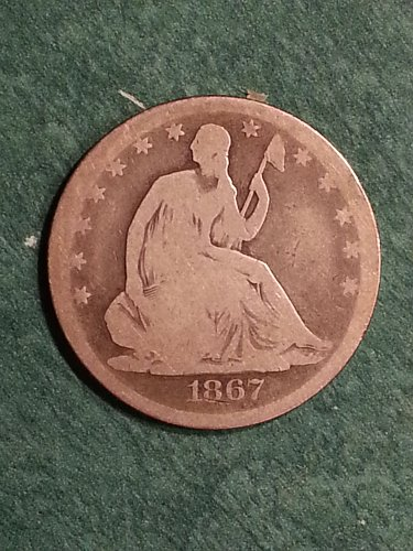 1867 Seated Liberty Half