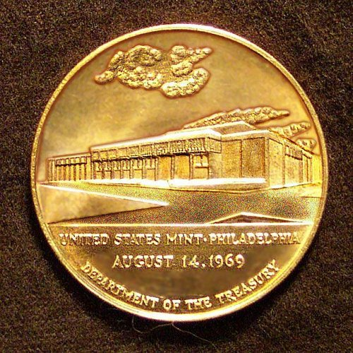 United States Mint Philadelphia August 14, 1969 Commemorative Bronze medal