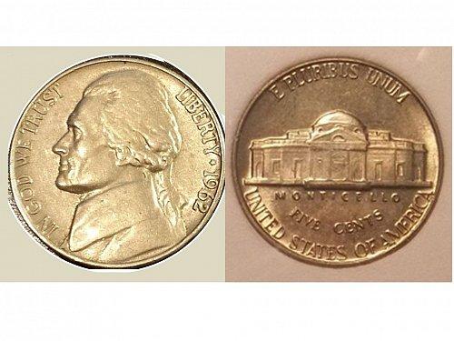 1962 Choice BU Jefferson Nickel from Mint Set; 5 Full Steps
