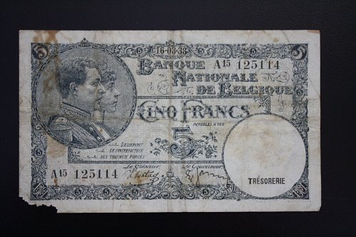 1938  BELGIUM  FIVE FRANCS BANKNOTE