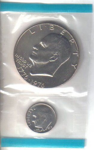 1975 P  EISENHOWER  DOLLAR and  1975 P  ROOSEVELT DIME