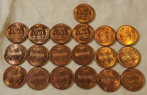 19 Coin Wheat/Memorial Cent Lot 1956,1957,1958,1959,1960,196 P&D BU Listed 1954S