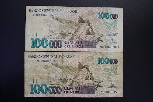 "1993 BRAZIL ONE HUNDRED THOUSAND CRUZEIROS BANKNOTES  ""2 NOTES"""