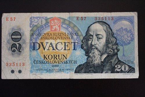 1988 CZECHOSLOVAKIA TWENTY KORUN BANKNOTE