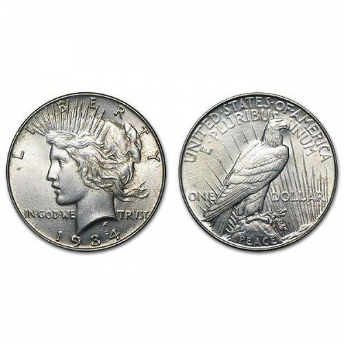 1934 Peace Silver Dollar - AU