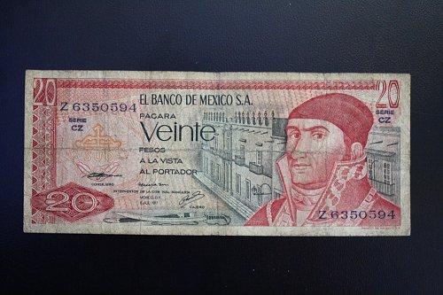 1977 MEXICO TWENTY PESOS  BANKNOTE