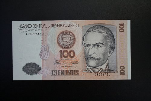 1987 PERU ONE HUNDRED INTIS BANKNOTE
