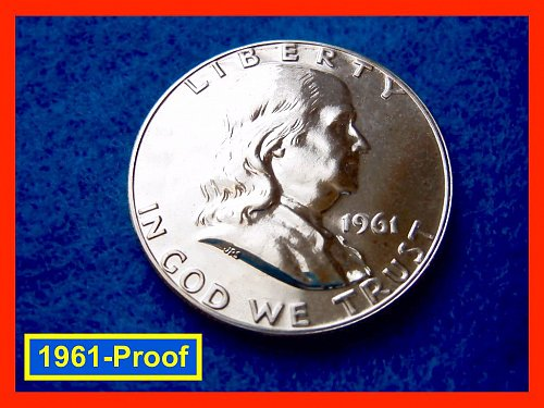1961-Proof  Franklin Half Dollar • • •