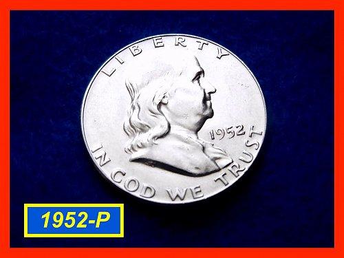 """1952-P  Franklin Half Dollar ––– """"XF-to-AU""""  (#1321)"""