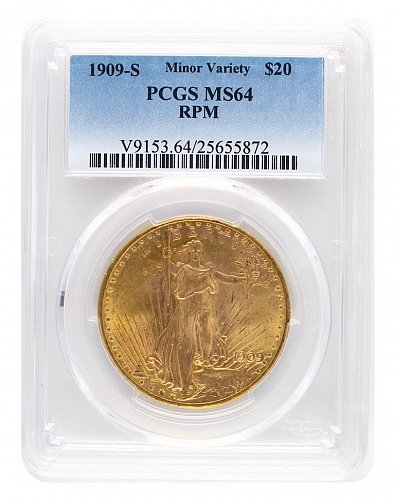 1909-S RPM Minor Variety PCGS MS64 $20 Saint Gaudens Double Eagle