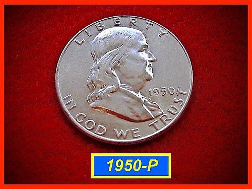 """1950-P  Franklin Half Dollar ––– """"XF-AU"""" Condition"""