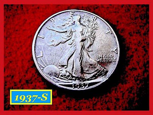 """1937-S  Liberty Walking Half  – """"Circulated""""   1937-S  Liberty Walking"""