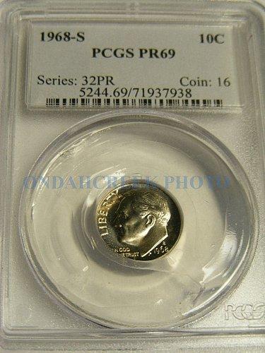 1968-S Roosevelt Dime PCGS Superb Gem Proof 69