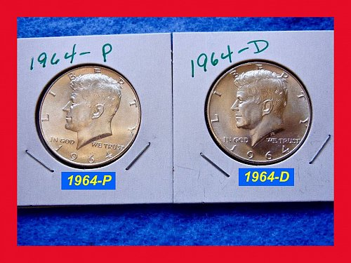 1964 YEAR-SET of Kennedy Half Dollars 🎯 Both Denver & Philadelphia Coins