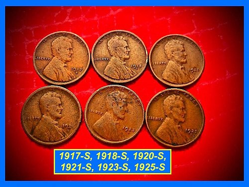 1917-S thru 1925-S 🔵 Six Different Early SAN FRANCISCO Mint Wheat Cents -