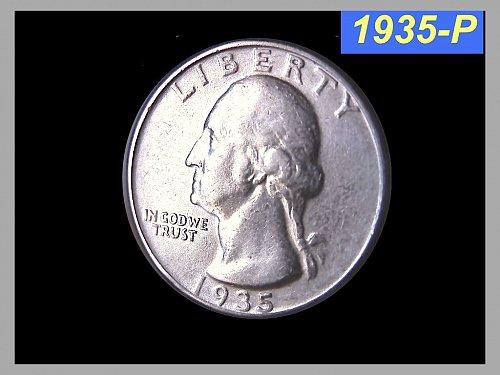 "1935-P Washington Quarter ⭕️ ""Circulated"""