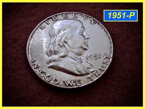 """1951-P  Franklin Half Dollar ––– """"XF-AU"""" Condition"""