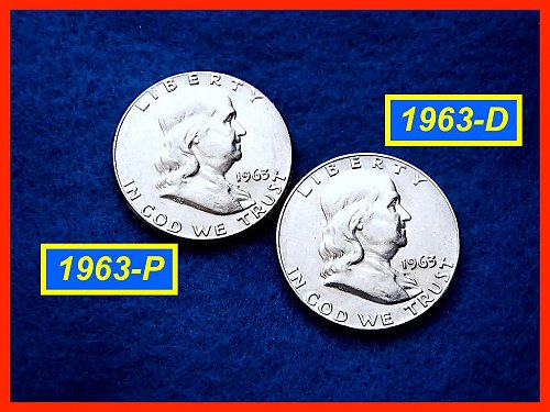 1963-P & 1963-D  Franklin Half Dollars ––– Circulated