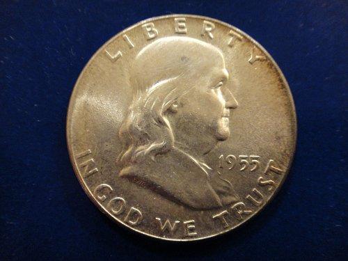 1955 Franklin Half Dollar MS-64 (Near Gem) Some Hints of Toning on Obv . . .