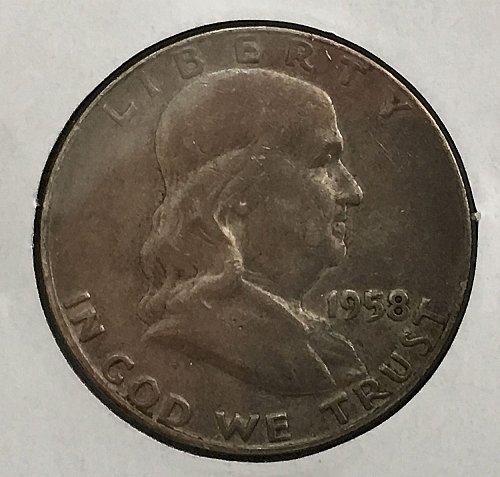 1958 D Franklin Half Dollar - Toned