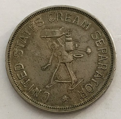 1890's UNITED STATES CREAM SEPARATOR TOKEN
