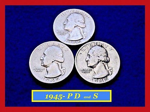 1945-PDS Washington Quarters ⭕️ Circulated