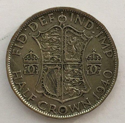 1940 George VI British Silver Half Crown