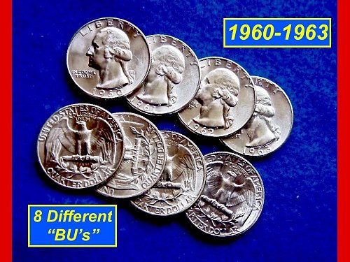 "1960 thru 1964 Washington Quarters ⭕️ Eight Coin Lot ⭕️ ""BU"" Condition"