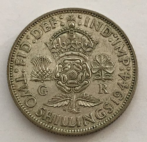 1944 Great Britain Florin -Two Shillings - Silver