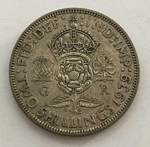 1939 Great Britain Florin -Two Shillings - Silver