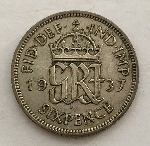 1937 Great Britain 6 Pence Silver