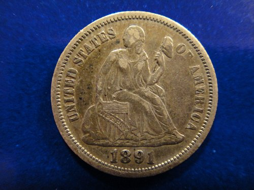 1891-O Seated Liberty Dime Extra Fine-40 Nice Light Grey Tan With Luster Hints!