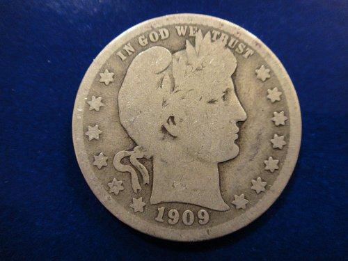 1909-D Barber Quarter Good-4 Nice Nearly Full Rims!