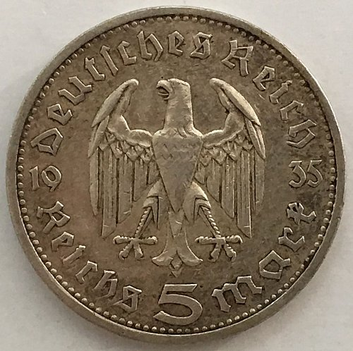 1935 E  5 Reichsmark - Germany Third Reich .900 Silver