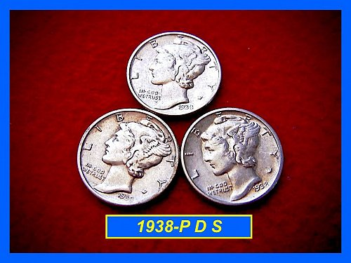 1938 YEAR-SET    Mercury Dimes   🎯   SF, Denver & Philly Coins