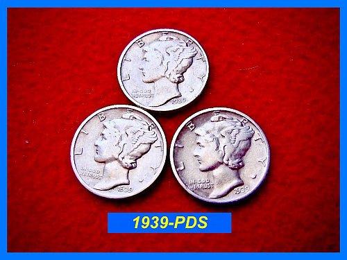 1939 YEAR-SET    Mercury Dimes   🎯   SF, Denver & Philly Coins