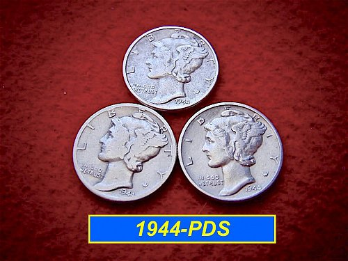 1944 YEAR-SET    Mercury Dimes   🎯   SF, Denver & Philly Coins