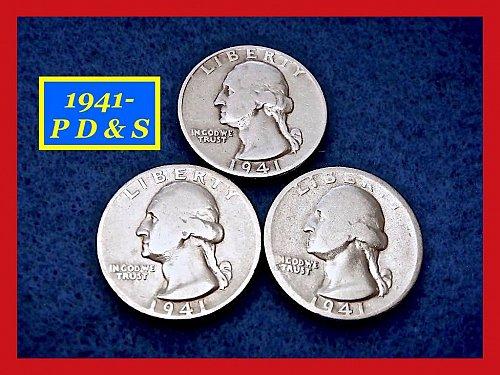 1941-PDS Washington Quarters ⭕️ Circulated