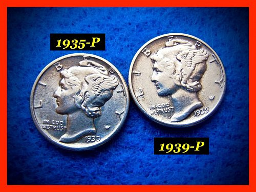 1935 and 1939    Mercury Dimes   🎯   SF, Denver & Philly Coins