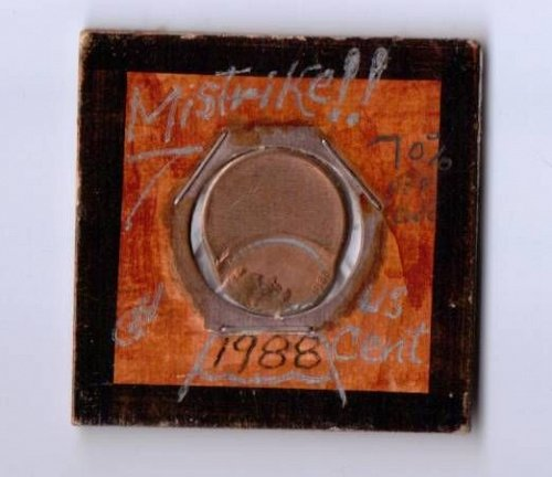 1988 P red strike error struck off center Mistrike Lincoln Cent 70 %
